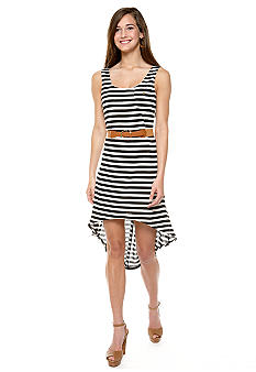 As U  Wish Knit Stripe Dress with High Low Hem