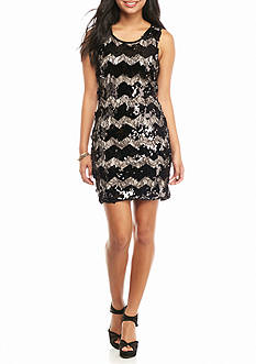 As U  Wish Chevron Sequin Tank Dress