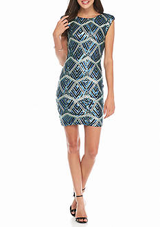 As U  Wish Chevron X Front Body Con Dress