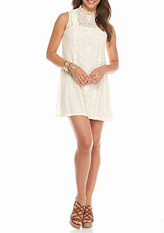 As U  Wish High Neckline Lace Dress