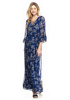 As U  Wish Lace-Up Peasant Maxi Dress