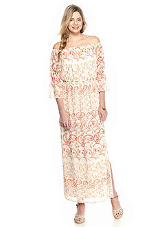 As U  Wish Off-the-Shoulder Peasant Maxi Dress