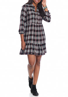 Secret Charm Long Sleeve Tiered Plaid Dress
