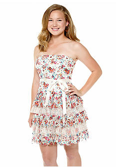 As U  Wish Floral Printed Tiered Lace Dress