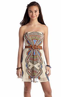 As U  Wish Belted Medallion Print Dress