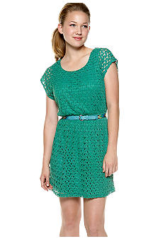 As U  Wish Short Sleeve Crochet Blouson Dress