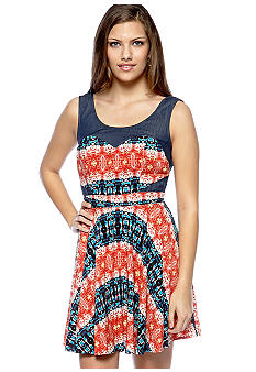 As U  Wish Sleeveless Denim Inset Trim Dress