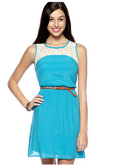 As U  Wish Sleeveless Crochet Inset Dress