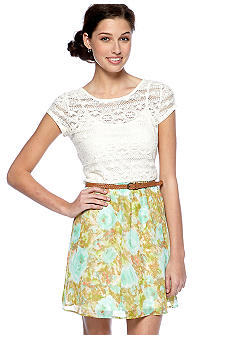 As U  Wish Cap Sleeve Lace and Chiffon Belted Dress