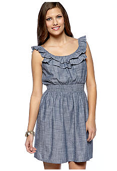 As U  Wish Chambray Ruffle Dress