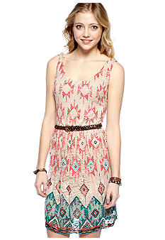 As U  Wish Sleeveless Printed Mesh Dress