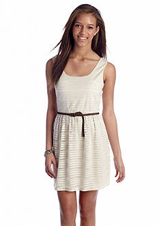 As U  Wish Belted Shadow Stripe Tank Dress