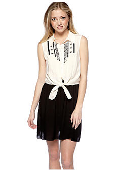 As U  Wish Sleeveless Tie Front Shirt Dress