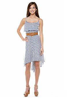 As U  Wish Stripe Ruffle Dress with High Low Hem