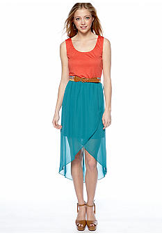 As U  Wish Sleeveless Knit Top Chiffon High Low Dress