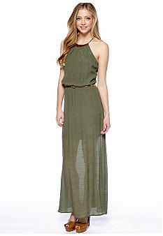 As U  Wish Gold Necklace Gauze Maxi Dress