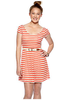As U  Wish Short Sleeve Textured Stripe Dress