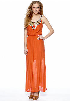 As U  Wish Beaded Neck Gauze Maxi