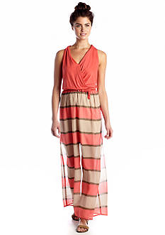 As U  Wish Stripe Belted Maxi Dress