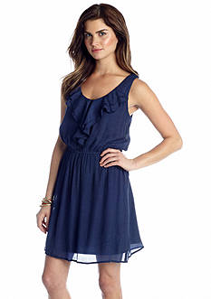 As U  Wish Ruffle Front Gauze Tank Dress