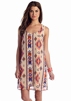 As U  Wish Tribal Crochet Back Shift Dress