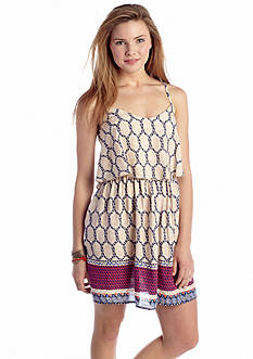 As U  Wish Border Print Flounce Top Dress