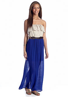As U  Wish Belted Flounce Top Maxi Dress