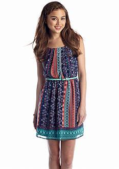 As U  Wish Mix Print Blouson Tank Dress