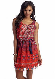 As U  Wish Printed Tassel Belt Dress
