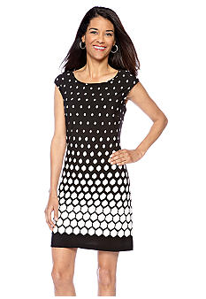 Kim Rogers Cap-Sleeved Printed Shift Dress