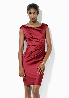 Lauren Ralph Lauren Cap-Sleeved Satin Dress