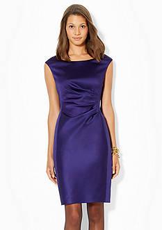 Lauren Ralph Lauren Cap-Sleeved Satin Dress