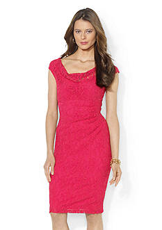 Lauren Ralph Lauren Stretch Floral Lace Cowl-neck Dress