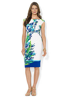 Lauren Ralph Lauren Cap-Sleeved Printed Jersey Dress
