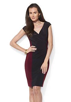 Lauren Ralph Lauren Colorblocked Surplice Dress
