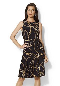 Lauren Ralph Lauren Belted Sleeveless Jersey Dress