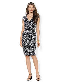 Lauren Ralph Lauren Ruched Jersey Printed Empire Dress