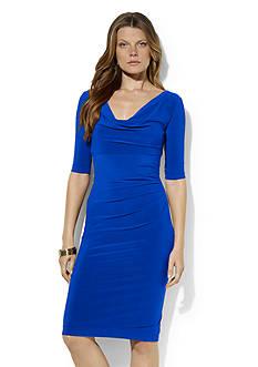 Lauren Ralph Lauren Cowl-neck Draped Matte Jersey Dress
