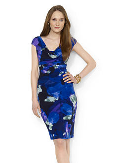 Lauren Ralph Lauren Printed Matte Jersey Cowl-neck Dress