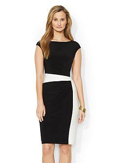 Lauren Ralph Lauren Two-Toned Boat-neck Dress