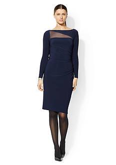 Lauren Ralph Lauren Mesh-Cutout Jersey Dress