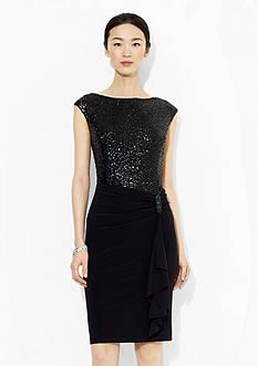 Lauren Ralph Lauren Cap-Sleeved Sequined Dress