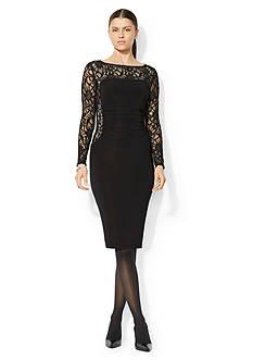 Lauren Ralph Lauren Sequined-Lace Boat-neck Dress