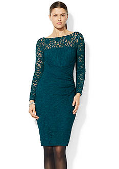 Lauren Ralph Lauren Long-Sleeved Stretch-Lace Dress