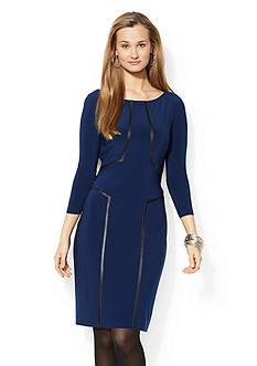 Lauren Ralph Lauren Vegan Leather Trim Dress