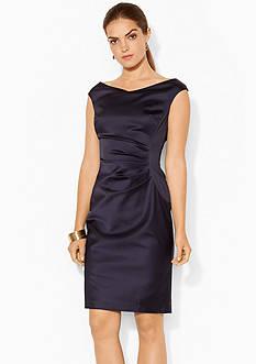 Lauren Ralph Lauren Satin V-Neckline Dress