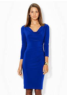 Lauren Ralph Lauren Three-Quarter-Length Sleeved Cowl-neck Jersey Dress