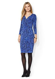 Lauren Ralph Lauren Jersey Side-Draped Printed Dress