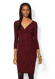 Lauren Ralph Lauren Printed Jersey Faux-Wrap Dress