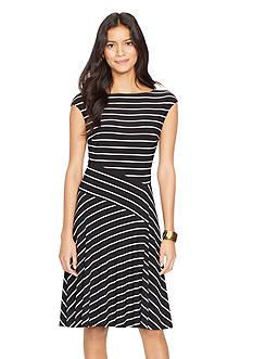 Lauren Ralph Lauren Striped Boat-neck Dress